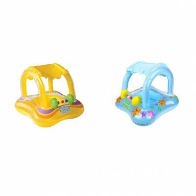 Надувной детский круг-плот с навесом Baby Float Intex