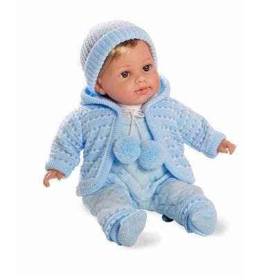 Мягкая кукла Elegance в голубом комбинезончике (звук), 42 см Arias