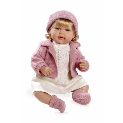 Мягкая кукла Elegance в розовой одежде с кристаллами Swarowski (звук), 45 см Arias