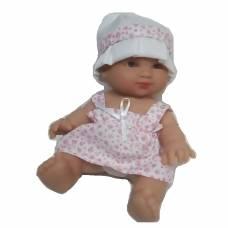 Виниловый пупс Elegance в белом платье в розовый цветочек, 24 см Arias