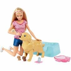 Кукла Барби и собака с новорожденными щенками Mattel