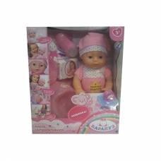 Интерактивная кукла с аксессуарами (пьет, писает), в розовом, 40 см Карапуз
