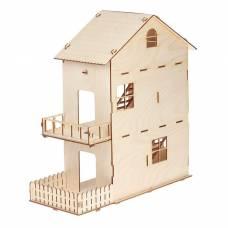 Домик для кукол, 3 этажа, с двориком, 1-й и 2-й этаж: 18,5 см, фанера: 4 мм Марич
