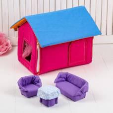 Домик кукольный из текстиля «Ми-ми-домик» розовый Коняша (Авалон)