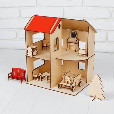 Домик фанера с машинкой и мебелью, 1-ый этаж: 12,5 см; 2-ой этаж: 17 см Большой слон
