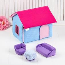 Домик кукольный из текстиля «Ми-ми-домик» розово-голубой Коняша (Авалон)