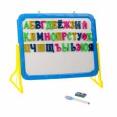 Доска магнитная двухсторонняя, на подставке, русский алфавит, маркер, стиралка, цвета высота буквы — 2,8 см Sima-Land
