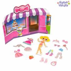 Магнитный набор с куклой, фоном и наклейками «Сладкая штучка» Happy Valley