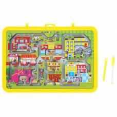 Доска для рисования маркером двухсторонняя, оборот игра-лабиринт, маркер, цвет желтый Sima-Land