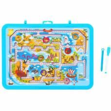 Доска для рисования маркером двухсторонняя, оборот игра-лабиринт, маркер, цвет голубой Sima-Land