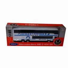 Инерционный автобус Mercedes-Benz O 404 DD, бело-голубой, 1:64 Welly