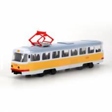 Инерционный трамвай Tatra T3SU (свет, звук), желтый, 1:54 Play Smart