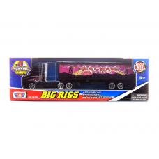 Коллекционная модель грузовика с полуприцепом, розовая, 19 см MotorMax