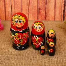 Матрёшка 5 мест сувенирка маленькая ягоды красно -черная   MS0502rojY-01 Уланик