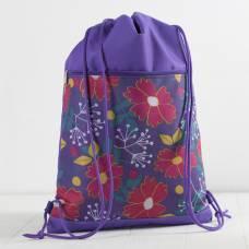 7926/600Д Сумка-мешок для обуви, 34*1*45, н/карман на молнии, сир фон/цветы ЗФТС