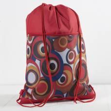 7926/600Д Сумка-мешок для обуви, 34*1*45, н/карман на молнии, красн фон/круги ЗФТС