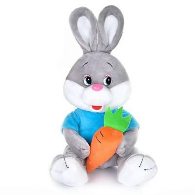 Мягкая музыкальная игрушка «Зайчонок» с морковкой в футболке, 21 см MAXIPLAY