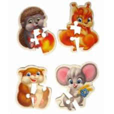 Мягкие пазлы 4 в 1 Baby Puzzle - Пушистики, 16 элементов Vladi Toys
