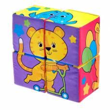 Мягкие кубики «Собери картинку», 4 шт, 8 х 8 см Забияка