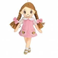 Кукла мягконабивная в розовом платье с косичками, 30 см ABtoys