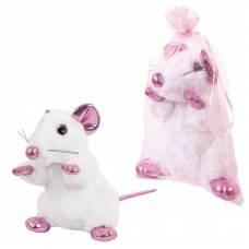 Крыса белая с розовыми лапками, 19 см игрушка мягкая в подарочном мешочке_СИМВОЛ ГОДА 2020! ABtoys