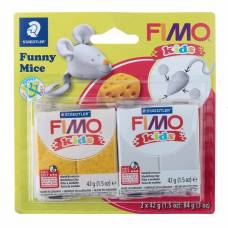 Набор пластики - полимерной глины для детей FIMO kids kit, 2 цвета по 42 г «Весёлая мышка» Staedtler