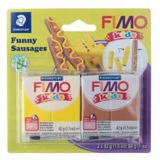 Набор пластики - полимерной глины для детей FIMO kids kit, 2 цвета по 42 г «Весёлые колбаски» Staedtler