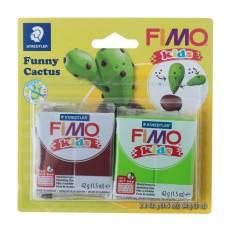 Набор пластики - полимерной глины для детей FIMO kids kit, 2 цвета по 42 г «Весёлый кактус» Staedtler