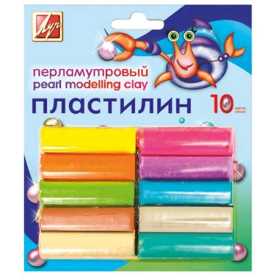 Перламутровый пластилин, 10 цветов Луч