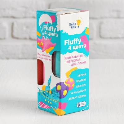 Воздушный пластилин для детской лепки «Fluffy 4 цвета» TA1501 Genio Kids