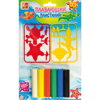 Плавающий пластилин + трафареты, 6 цветов Луч