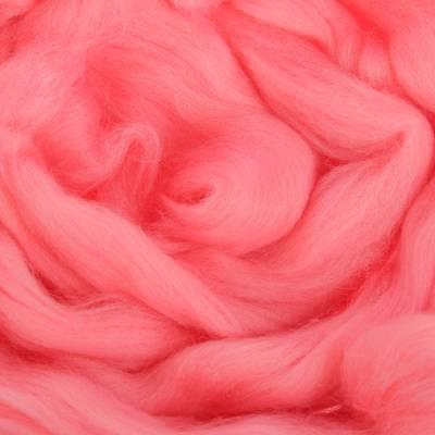 Гребенная лента 100% шерсть аргентинский меринос 50гр (0160, розовый) Троицкая камвольная фабрика