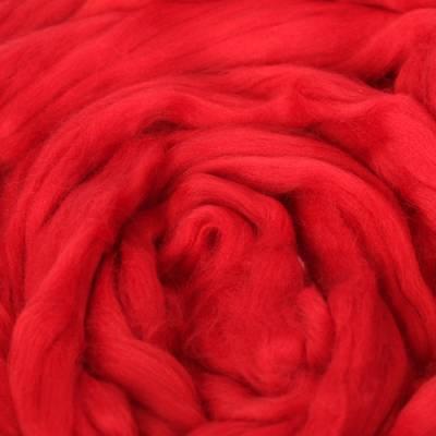 Гребенная лента 100% тонкая мериносовая шерсть 100гр (0042, красный) Троицкая камвольная фабрика