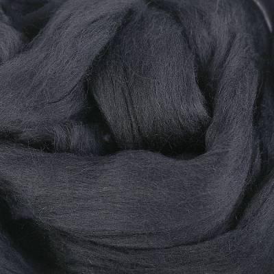 Гребенная лента 100% полутонкая шерсть 100гр (0140, черный) Троицкая камвольная фабрика
