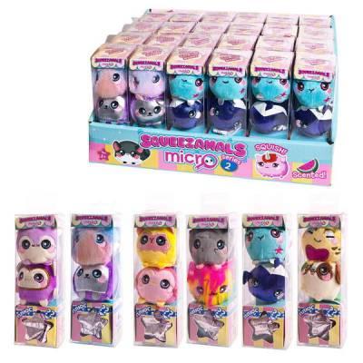 Squeezamals (Скуизамалс) Микро, набор из 3 фигурок животных 4 см, 36 видов в ассортименте, 24 набора в дисплее, ЦЕНА ЗА ШТУКУ Beverly Hills Teddy Bear