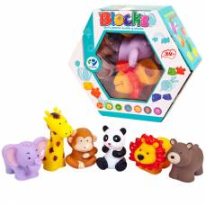 Набор игровой. Фигурки животных винил, пазлы, 6 шт в наборе 21х18х7,5 см Junfa Toys