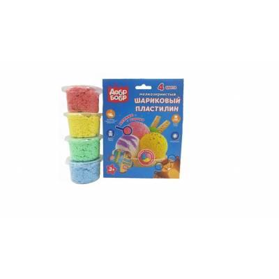 Шариковый пластилин, мелкозернистый, 4 цвета, 500 мл 1TOY