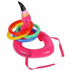 Игрушка надувная «Кольцеброс-фламинго», 30 см, с 4 кольцами Забияка