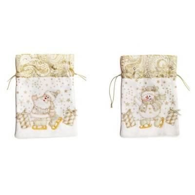 Мешочек для подарков, золотистый Новогодняя сказка