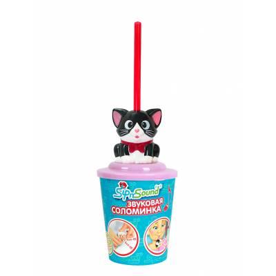 Звуковая соломинка Sip n' Sound - Кошка, черно-белая The Lokumal Group