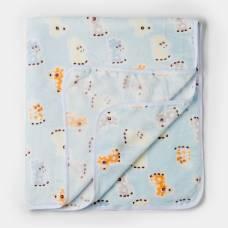 Плед детский жирафы голубой 90х100см, велсофт 260г/м пэ100% Детская линия