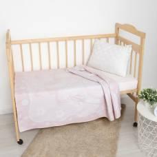 Одеяло жаккардовое Медвежонок, размер 100х140 см, бел/роз, хл50%, пэ30%, пан20% Владис