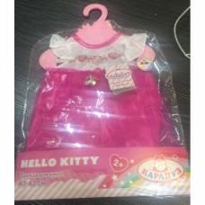 Платье для куклы Hello Kitty, белый корсаж, 40-42 см Карапуз