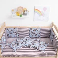 Бортик Крошка Я «Еноты», из подушечек (32 × 32 см, 12 шт.), бязь/синтепон Крошка Я