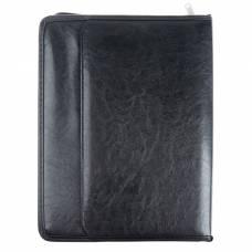 Папка деловая «Люкс», 370х275х30 мм, искусственная кожа, внешний карман, откидная планка, с блокнотом, чёрная Канцбург