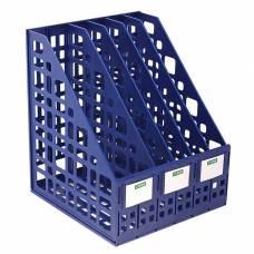 Лоток для бумаг cборный вертикальный, 5 отделений, синий Стамм