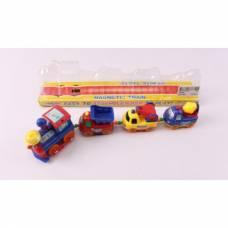 Паровозик с 3 вагончиками-машинками Magnetic Train