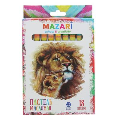 Пастель масляная 18 цветов MAZARI Safari, шестигранная, 73мм, d-10мм MAZARi