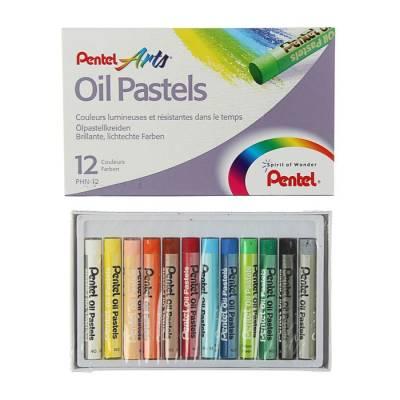 Пастель масляная 12 цветов Pentel 8/60мм, в картоне Pentel