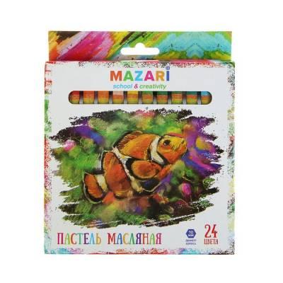 Пастель масляная 24 цвета MAZARI Safari, шестигранная, 73мм, d-10мм MAZARi
